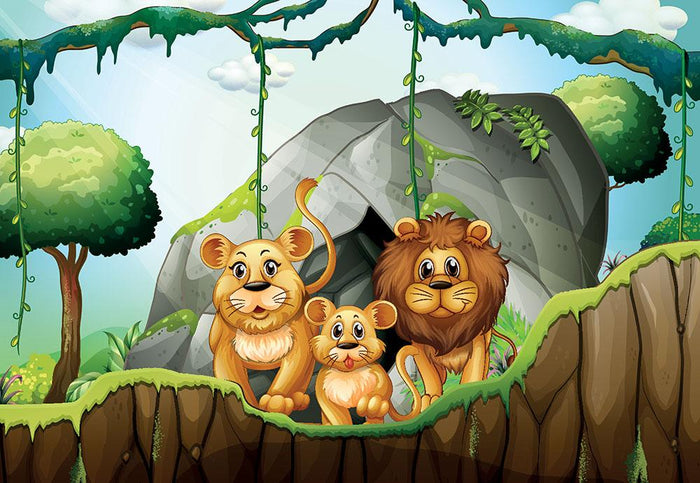 Lion family living in the jungle Wall Mural Wallpaper