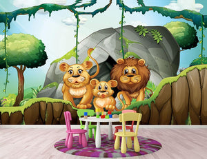 Lion family living in the jungle Wall Mural Wallpaper - Canvas Art Rocks - 2