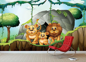 Lion family living in the jungle Wall Mural Wallpaper - Canvas Art Rocks - 3