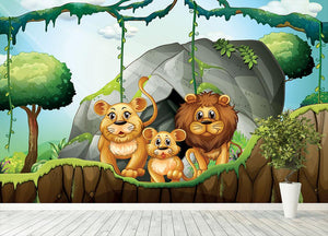 Lion family living in the jungle Wall Mural Wallpaper - Canvas Art Rocks - 4