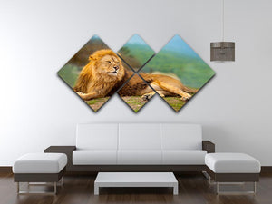 Lion male having a rest 4 Square Multi Panel Canvas - Canvas Art Rocks - 3