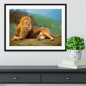 Lion male having a rest Framed Print - Canvas Art Rocks - 1