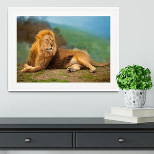 Lion male having a rest Framed Print - Canvas Art Rocks - 5