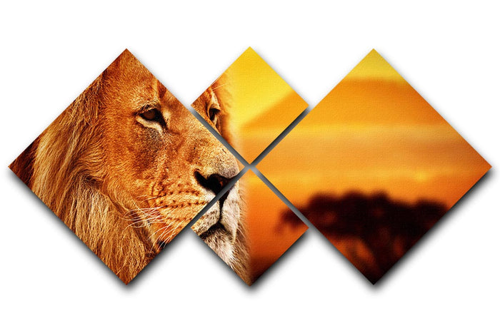Lion portrait on savanna landscape 4 Square Multi Panel Canvas