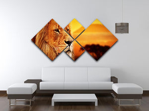 Lion portrait on savanna landscape 4 Square Multi Panel Canvas - Canvas Art Rocks - 3