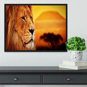 Lion portrait on savanna landscape Framed Print - Canvas Art Rocks - 2