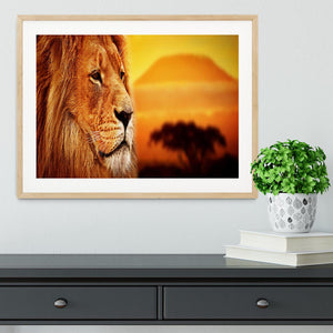 Lion portrait on savanna landscape Framed Print - Canvas Art Rocks - 3