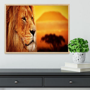 Lion portrait on savanna landscape Framed Print - Canvas Art Rocks - 4