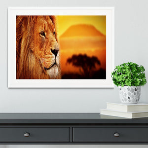 Lion portrait on savanna landscape Framed Print - Canvas Art Rocks - 5