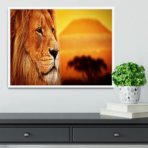 Lion portrait on savanna landscape Framed Print - Canvas Art Rocks -6