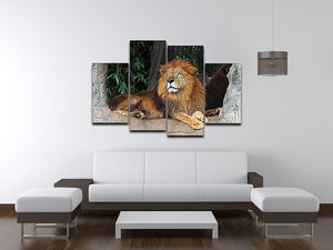 Lion resting on a tree 4 Split Panel Canvas - Canvas Art Rocks - 3