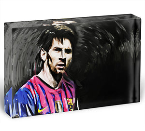 Lionel Messi Close Up Acrylic Block - Canvas Art Rocks - 1