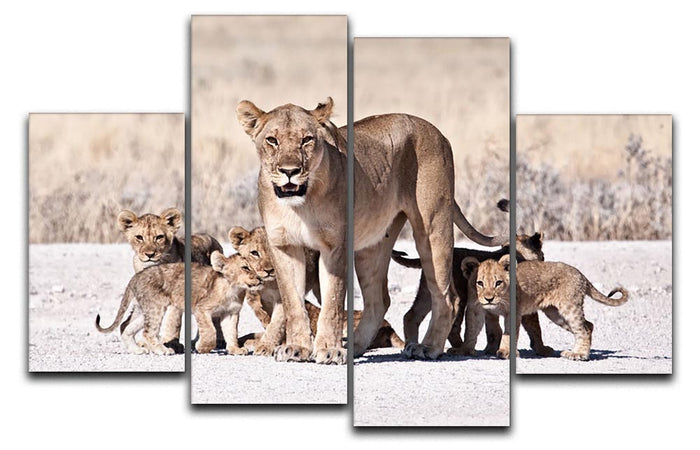 Lioness and cubs 4 Split Panel Canvas