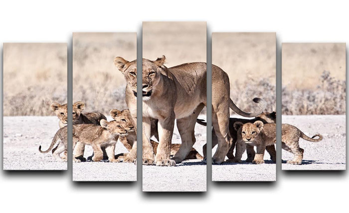 Lioness and cubs 5 Split Panel Canvas