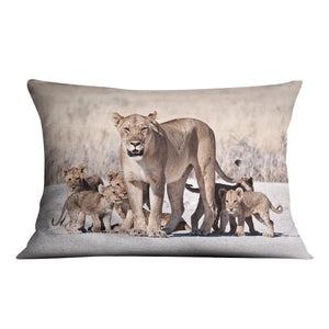 Lioness and cubs Cushion - Canvas Art Rocks - 4
