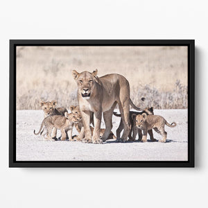 Lioness and cubs Floating Framed Canvas - Canvas Art Rocks - 2
