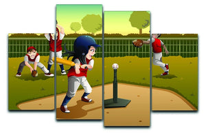 Little kids playing Tee ball 4 Split Panel Canvas  - Canvas Art Rocks - 1
