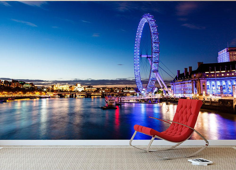 London Eye and London Cityscape in the Night Wall Mural Wallpaper - Canvas Art Rocks - 1