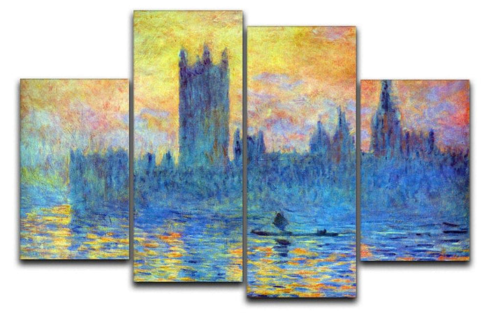 London Parliament in Winter by Monet 4 Split Panel Canvas