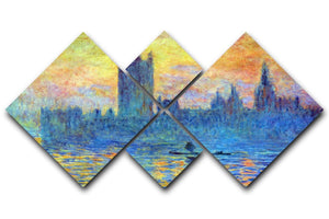 London Parliament in Winter by Monet 4 Square Multi Panel Canvas  - Canvas Art Rocks - 1