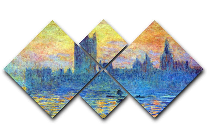 London Parliament in Winter by Monet 4 Square Multi Panel Canvas