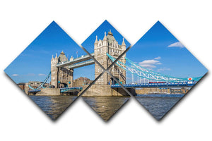 London Tower Bridge 4 Square Multi Panel Canvas  - Canvas Art Rocks - 1