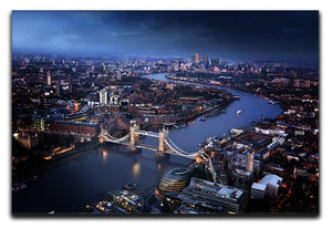 London aerial view with Tower Bridge Canvas Print or Poster  - Canvas Art Rocks - 1