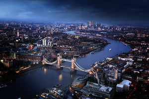 London aerial view with Tower Bridge Wall Mural Wallpaper - Canvas Art Rocks - 1