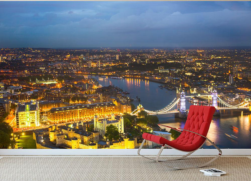 London at sunset City background Wall Mural Wallpaper - Canvas Art Rocks - 1