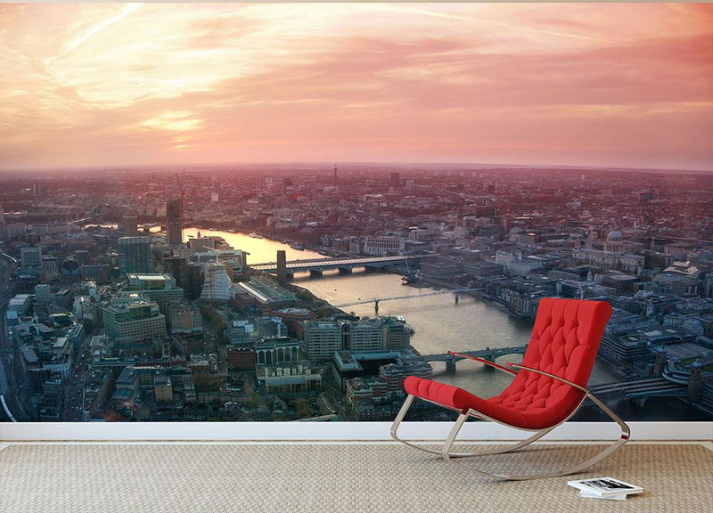 London business and financial aria view Wall Mural Wallpaper - Canvas Art Rocks - 1