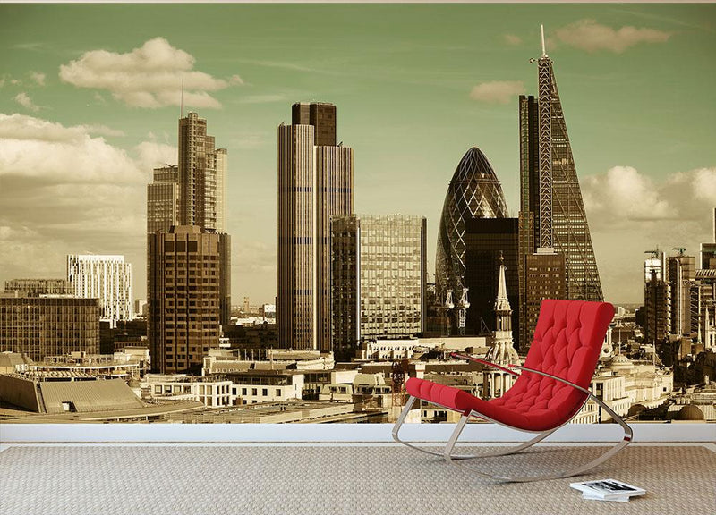 London city rooftop view with urban architectures Wall Mural Wallpaper - Canvas Art Rocks - 1