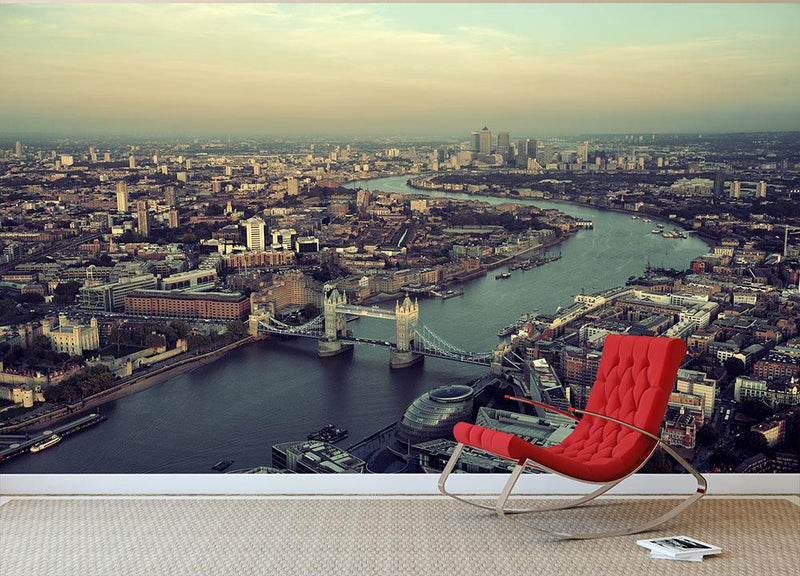 London rooftop view panorama at sunset Wall Mural Wallpaper - Canvas Art Rocks - 1