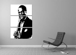 Louis Armstrong 3 Split Panel Canvas Print - Canvas Art Rocks - 2