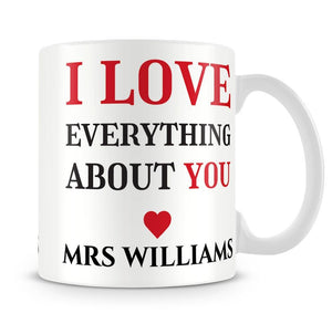 I Love Everything About You Personalised Mug