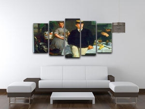 Luncheon by Manet 5 Split Panel Canvas - Canvas Art Rocks - 3