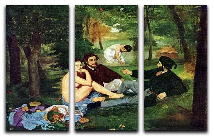 Luncheon on The Grass 1863 by Manet 3 Split Panel Canvas Print