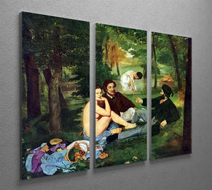 Luncheon on The Grass 1863 by Manet 3 Split Panel Canvas Print - Canvas Art Rocks - 2