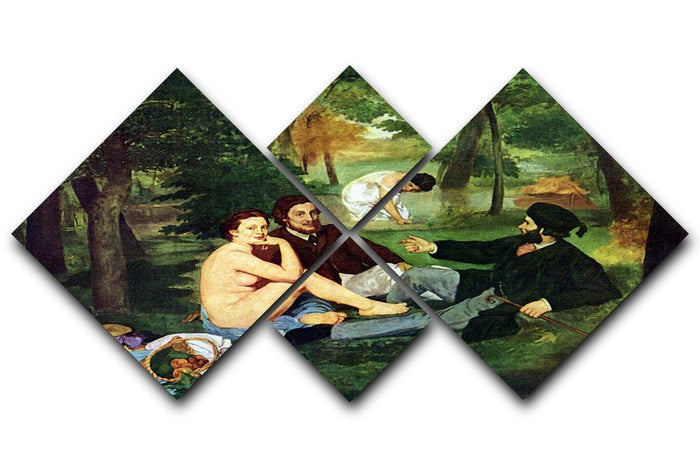 Luncheon on The Grass 1863 by Manet 4 Square Multi Panel Canvas