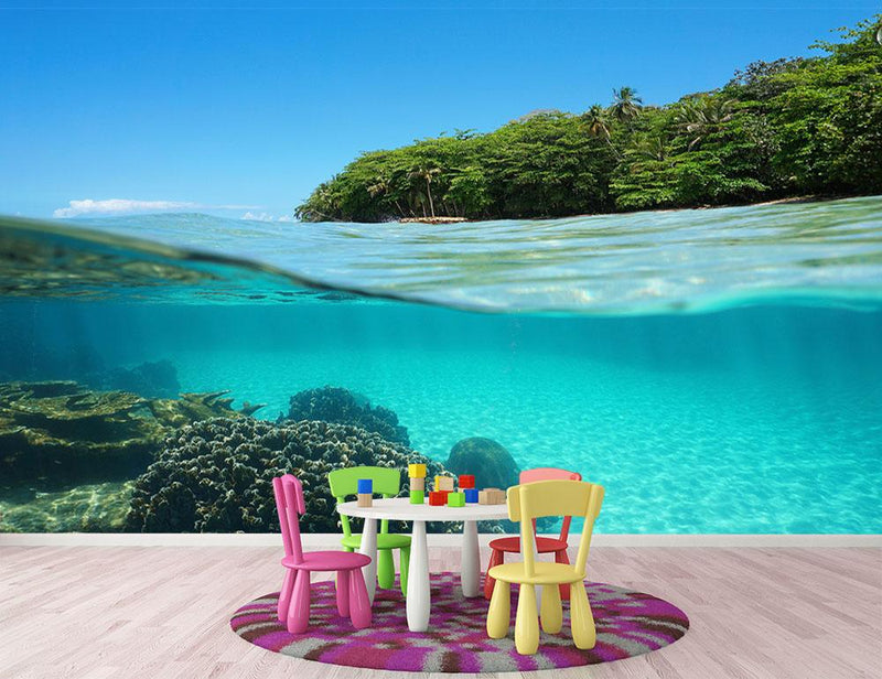 Lush tropical shore above waterline Wall Mural Wallpaper - Canvas Art Rocks - 1