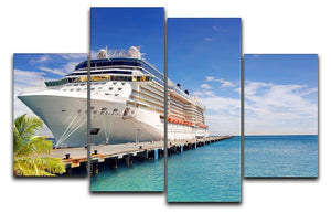 Luxury Cruise Ship in Port on sunny day 4 Split Panel Canvas  - Canvas Art Rocks - 1