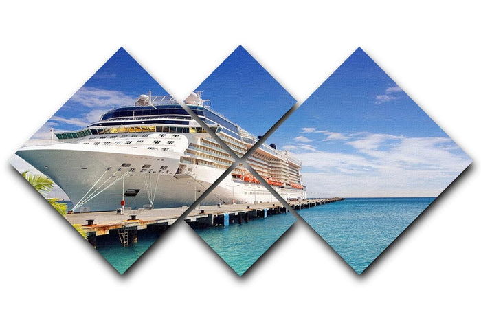 Luxury Cruise Ship in Port on sunny day 4 Square Multi Panel Canvas