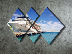 Luxury Cruise Ship in Port on sunny day 4 Square Multi Panel Canvas  - Canvas Art Rocks - 2