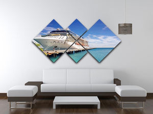Luxury Cruise Ship in Port on sunny day 4 Square Multi Panel Canvas  - Canvas Art Rocks - 3