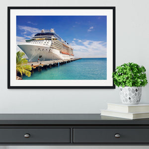 Luxury Cruise Ship in Port on sunny day Framed Print - Canvas Art Rocks - 1