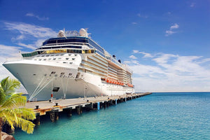 Luxury Cruise Ship in Port on sunny day Wall Mural Wallpaper - Canvas Art Rocks - 1