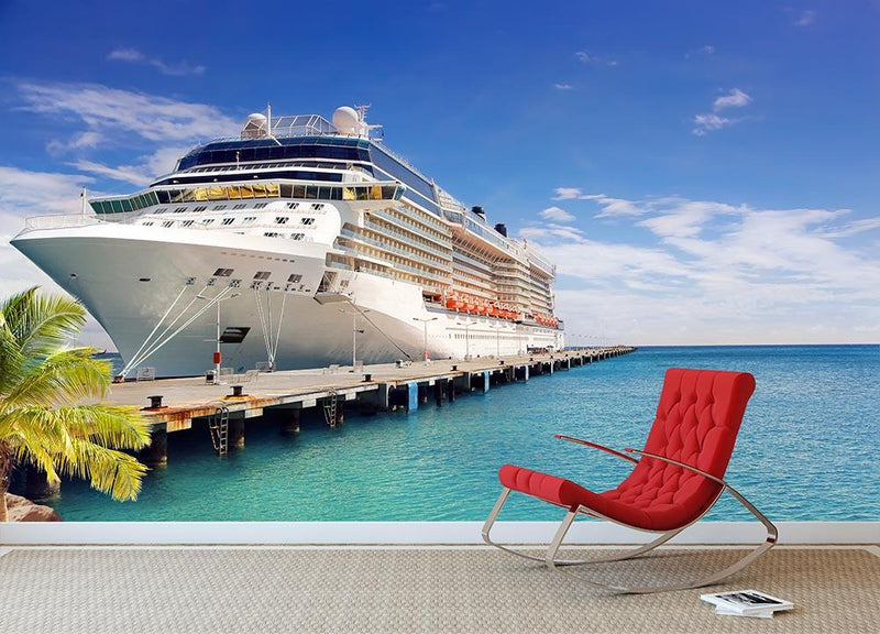 Luxury Cruise Ship In Port On Sunny Day Wall Mural Wallpaper Canvas Art Rocks
