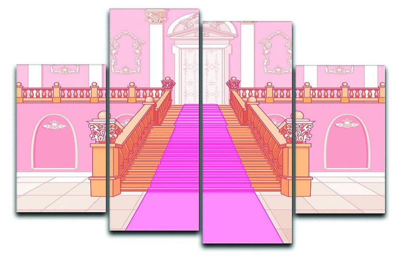 Luxury staircase in the magic palace 4 Split Panel Canvas  - Canvas Art Rocks - 1