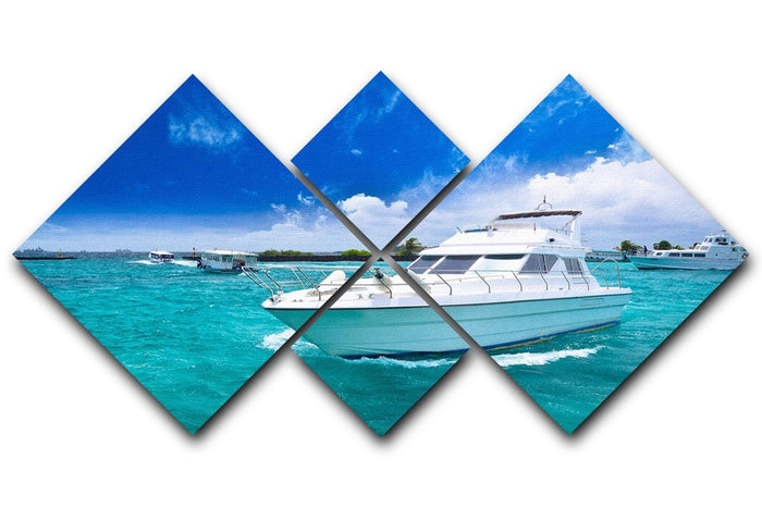 Luxury yatch in beautiful ocean 4 Square Multi Panel Canvas