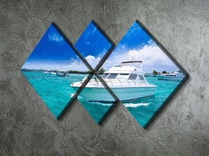 Luxury yatch in beautiful ocean 4 Square Multi Panel Canvas  - Canvas Art Rocks - 2