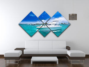 Luxury yatch in beautiful ocean 4 Square Multi Panel Canvas  - Canvas Art Rocks - 3